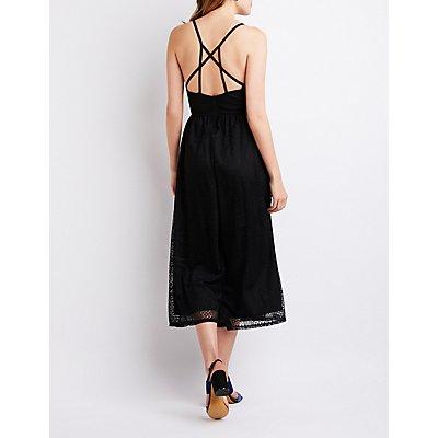 Lace Strappy Back Wide Leg Jumpsuit