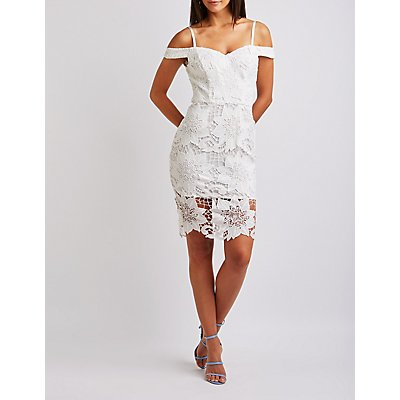 Crochet Off The Shoulder Bodycon Dress