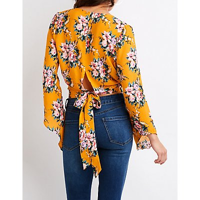 Floral Surplice Cascade Sleeve Crop Top