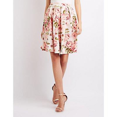 Floral Scuba Midi Skirt