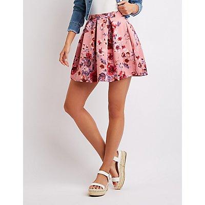 Pleated Floral Skater Skirt