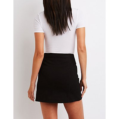 Button Up Mini Skirt