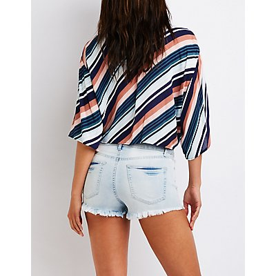 Refuge Lace Up Cheeky Denim Shorts