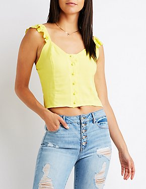 Ruffle Sleeve Button Up Top