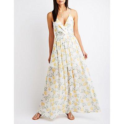 Lemon Print Wrap Maxi Dress