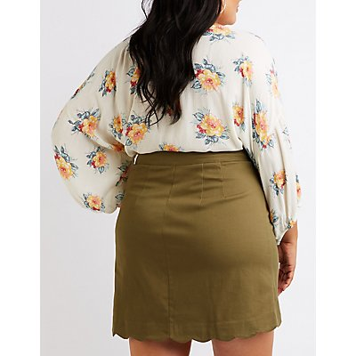 Plus Size Button Up Mini Skirt