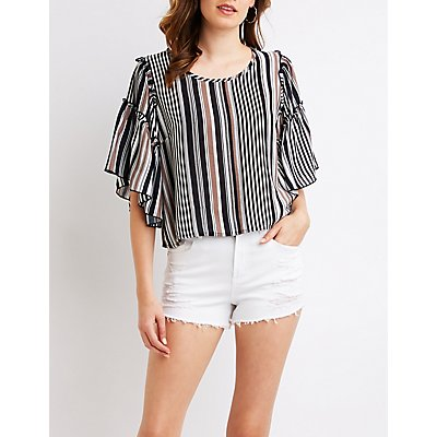 Striped Tiered Sleeve Top
