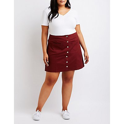 Plus Size Button Up Mini Skirt