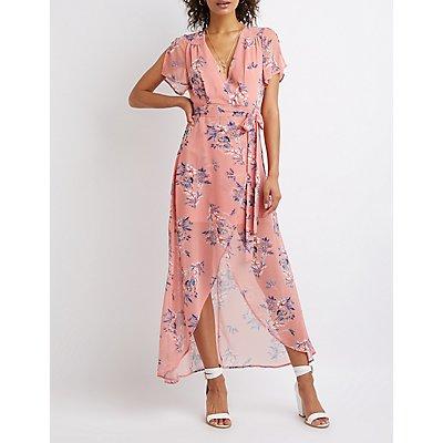 Floral Hi Low Wrap Maxi Dress
