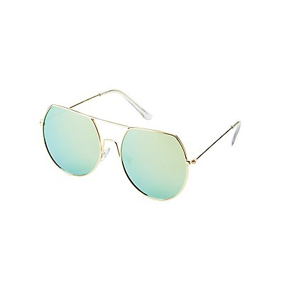 Round Brow Bar Sunglasses