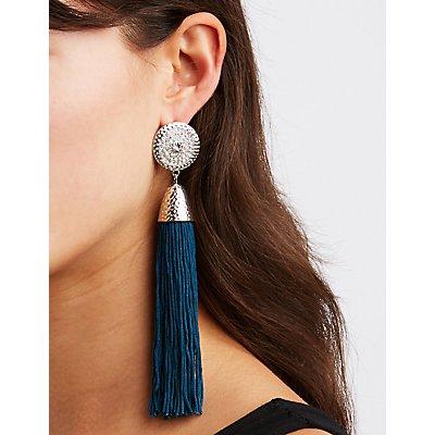 Medallion Tassel Drop Earrings