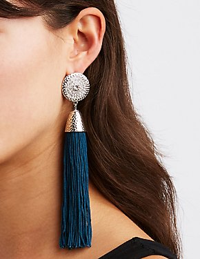 Medallion Tassel Drop Earrings