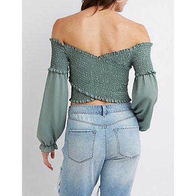 Smocked Off-The-Shoulder Crop Top