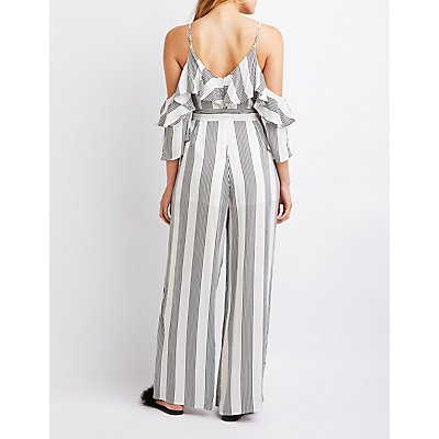 Striped Cold Shoulder Ruffle Jumpsuit