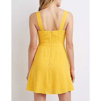 Bow Cut Out Skater Dress