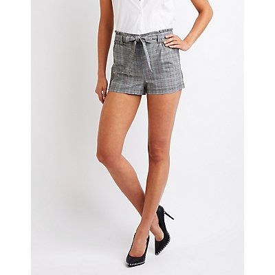 Plaid Tie Front Paperbag Shorts