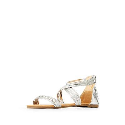 Glitter & Rhinestone Flat Sandals