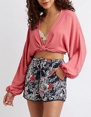 Floral High-Waisted Drawstring Shorts