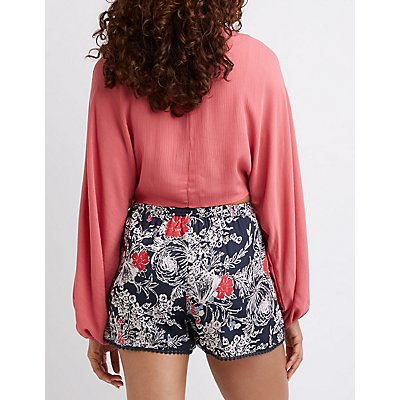 Floral High-Waisted Drawstring Shorts