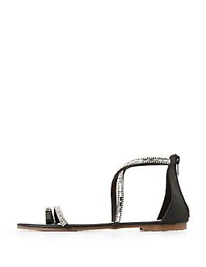 Strappy Rhinestone Flat Sandals