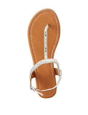 Rhinestone T-Strap Flat Sandals