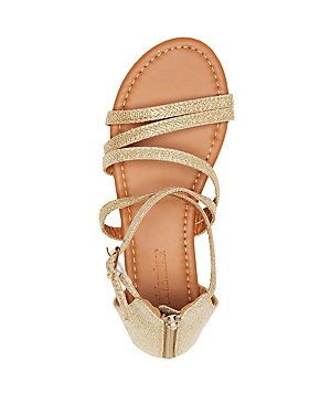 Shimmer Strappy Flat Sandals