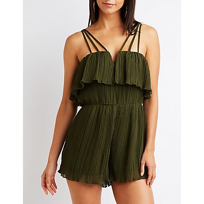 Pleated Notched Romper