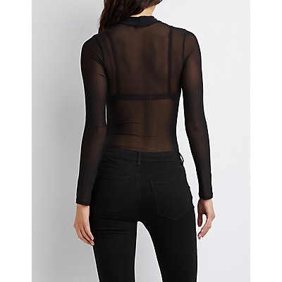 Mock Neck Cut-Out Mesh Bodysuit