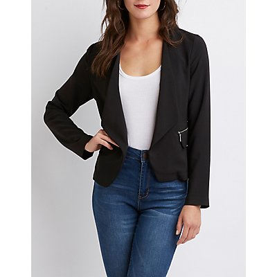 Collarless Open Front Blazer