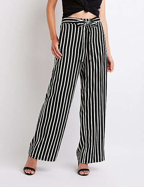 ff433218f72130 Shoptagr | Striped Tie Front Pants by Charlotte Russe
