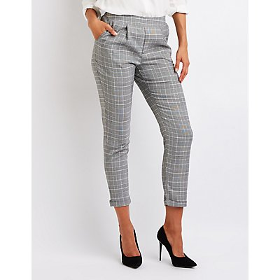 Plaid Cuffed Trousers