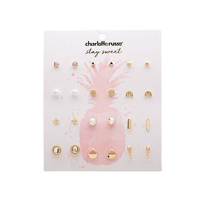 Stud Earrings- 12 Pack