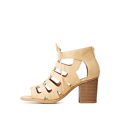 Lace Up Open Toe Sandals by Charlotte Russe