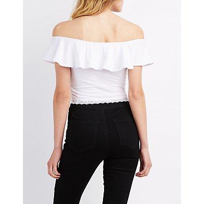 Lace Trim Off The Shoulder Crop Top