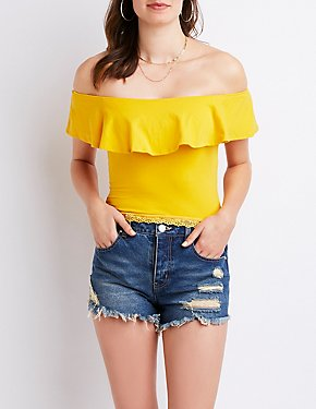 Lace Trim Off The Shoulder Crop Top