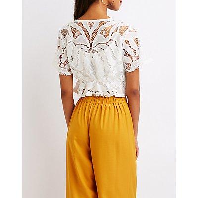 Lace Tie Front Crop Top