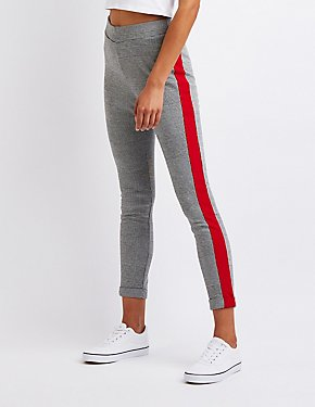 Striped Houndstooth Cuffed Leggings