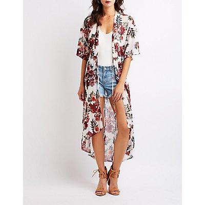 Floral Tie Front Kimono