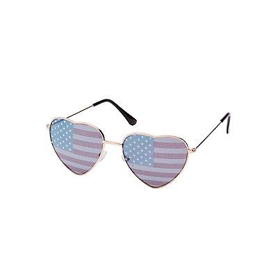 American Flag Heart Shape Sunglasses