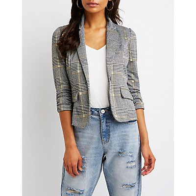 Plaid Ruched Sleeve Blazer
