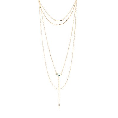 Stone Layered Lariat Necklace