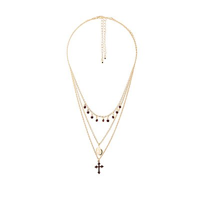 Crystal Cross & Mini Locket Necklaces