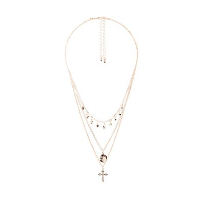 Crystal Cross & Mini Locket Necklaces