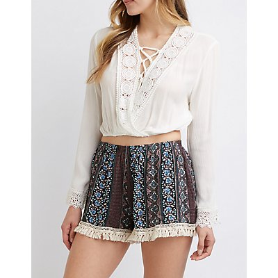 Floral Tassel Shorts by Charlotte Russe