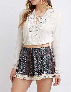 Floral Tassel Shorts