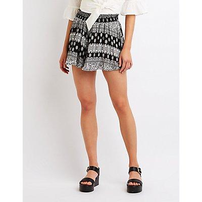 Paisley Smocked Gauze Shorts