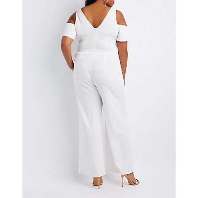 Plus Size Cold Shoulder Wide Leg Jumpsuit