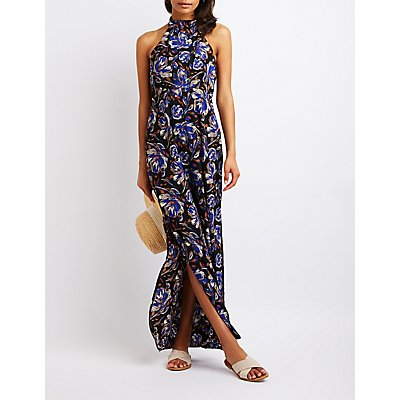 Floral Mock Neck Maxi Dress