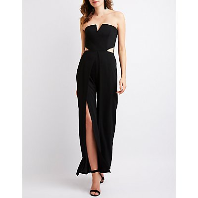 Cut Out Split Wide Leg Jumpsuit