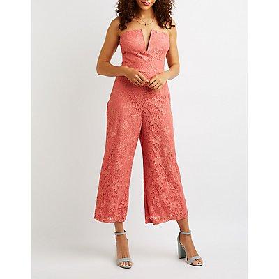 Notched Strapless Lace Jumpsuit